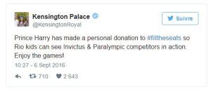 Quand le Prince Harry twitte, le dons s'accumulent